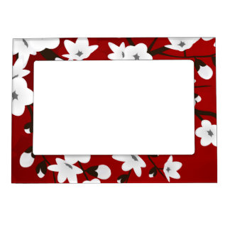 Floral Cherry Blossoms Black Red White Magnetic Frame