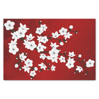 Floral Cherry Blossoms Black Red White Tissue Paper
