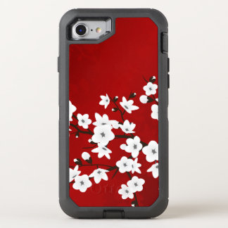 Floral Cherry Blossoms Black White Red OtterBox Defender iPhone 7 Case