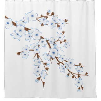 Floral Cherry Blossoms Blue White Classic Shower Curtain