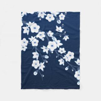 Floral Cherry Blossoms Blue White Fleece Blanket
