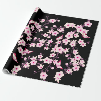 Floral Cherry Blossoms Butterflies  Wrapping Paper