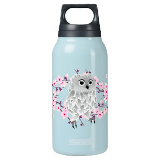 Floral Cherry Blossoms Cute Owl Insulated Water Bottle