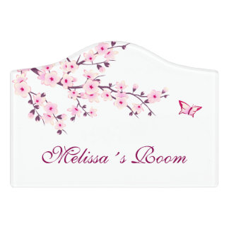 Floral Cherry Blossoms Door Sign