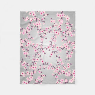 Floral Cherry Blossoms Fleece Blanket