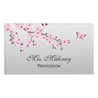 Floral Cherry Blossoms Gray Pink Name Tag