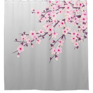 Floral Cherry Blossoms Gray Pink Shower Curtain
