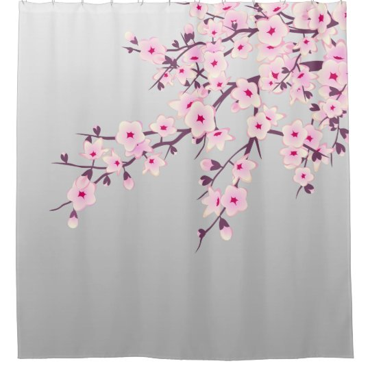 Floral Cherry Blossoms Grey Pink Shower Curtain