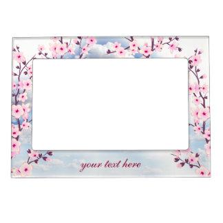Floral Cherry Blossoms Landscape Magnetic Frame