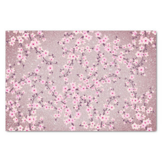 Floral Cherry Blossoms Mauve Glitter Tissue Paper