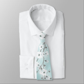 Floral Cherry Blossoms Mint Tie