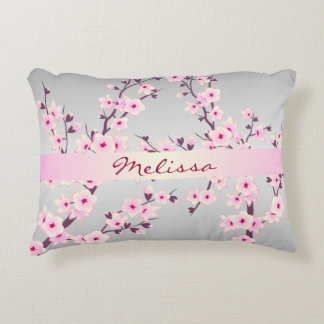 Floral Cherry Blossoms Monogram Accent Pillow