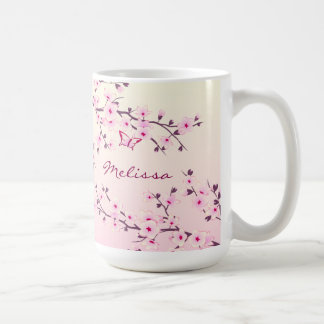 Floral Cherry Blossoms Monogram Coffee Mug