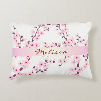 Floral Cherry Blossoms Monogram Decorative Cushion