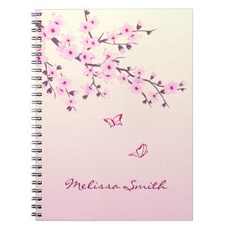 Floral Cherry Blossoms Monogram Notebooks
