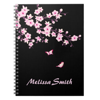 Floral Cherry Blossoms Monogram Pink Black Notebook