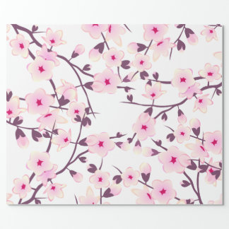 Floral Cherry Blossoms Pattern Wrapping Paper