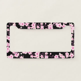 Floral Cherry Blossoms Pink Black Licence Plate Frame