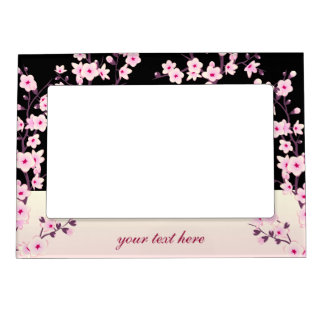 Floral Cherry Blossoms Pink Black Magnetic Frame