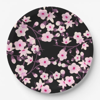 Floral Cherry Blossoms Pink Black Paper Plate