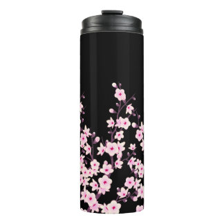 Floral Cherry Blossoms Pink Black Thermal Tumbler
