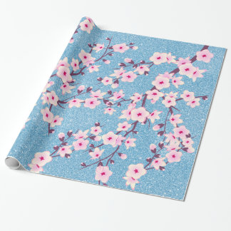 Floral Cherry Blossoms Pink Blue Glitter Wrapping Paper