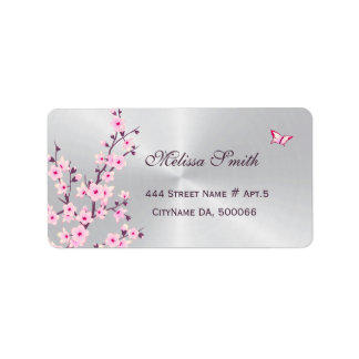 Floral Cherry Blossoms Pink Silver Address Label