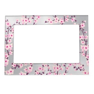 Floral Cherry Blossoms  Pink Silver Magnetic Frame