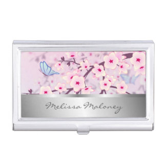 Floral Cherry Blossoms Pink Silver Personalize Business Card Holder