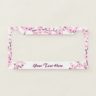 Floral Cherry Blossoms Pink White Licence Plate Frame