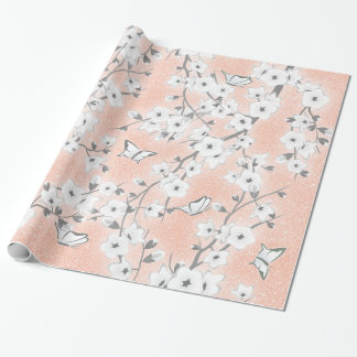 Floral Cherry Blossoms Rose Gold Gray Wrapping Paper