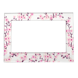 Floral Cherry Blossoms (Sakura) Picture Frame Magnet