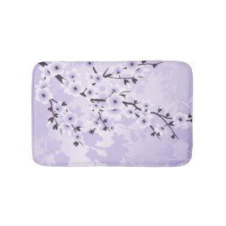 Floral Cherry Blossoms Sakura  Purple Bath Mat