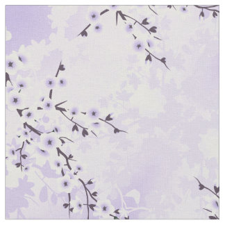 Floral Cherry Blossoms Sakura  Purple Fabric