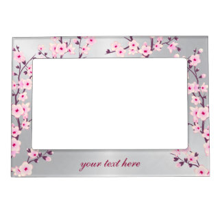 Floral Cherry Blossoms Silver Pink Picture Frame Magnet