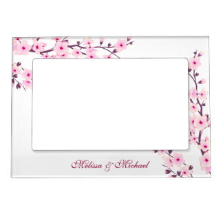 Floral Cherry Blossoms Wedding Magnetic Picture Frame