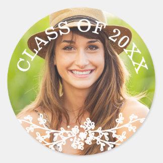Floral Chic Graduation Class Envelope Seal Round Sticker