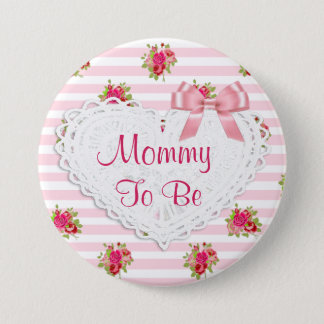 Floral Chic Mommy to be Baby Shower button