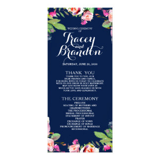 Floral Chic Navy Blue Elegant Wedding Program Custom Rack Cards