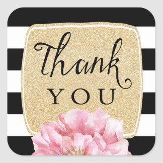 Floral Chic Thank You Stickers / Champagne