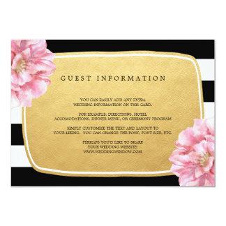 Floral Chic Wedding Insert Card / Gold 11 Cm X 16 Cm Invitation Card