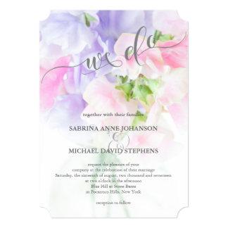 FLORAL CHIC WEDDING SWEET PEAS CARD