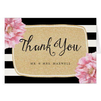 Floral Chic Wedding Thank You Card / Champagne