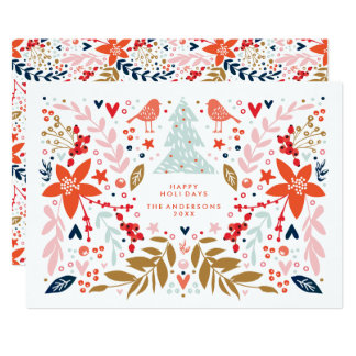 Floral Christmas Pretty Holiday Card