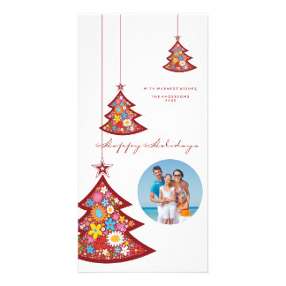 Floral Christmas Tree Ornaments Holiday Photo Card