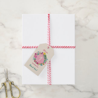 Floral Circle First Birthday Party   Gift Tag