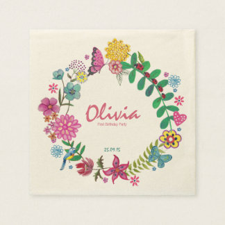 Floral Circle First Birthday Party Paper Napkins