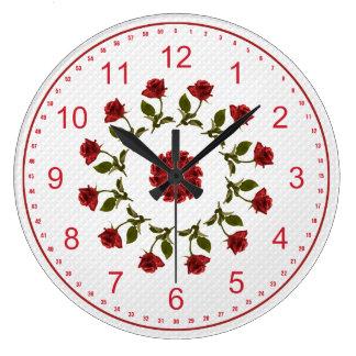 Floral Circle of Red Roses, White Lattice Pattern Wallclock
