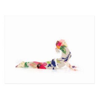 Floral Cobra Yoga Pose Series Postcard