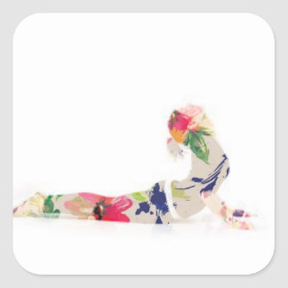 Floral Cobra Yoga Pose Series Square Sticker